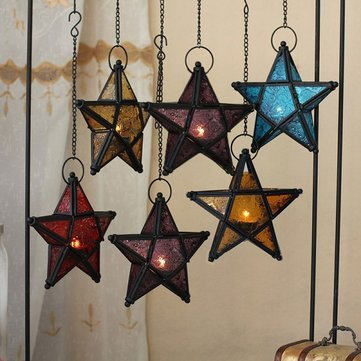 Glass Pentagram European Style Iron Art Hanging Candle Holders Colorful Star Home Decor Light^Yellow.