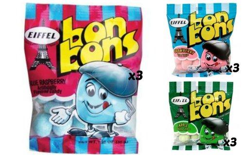 Eiffel Bon Bons 1.25oz 9 Bag Variety Pack - Strawberry, Blue Raspberry, & Apple - Bon Bons Apple