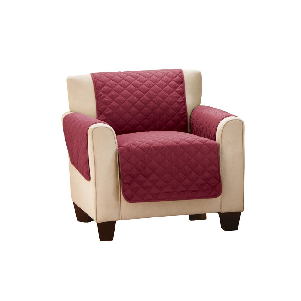 DIFEN Deluxe Reversible Quilted Furniture Protector and PET PROTECTOR Perfect for Families with Pets and Kids (Chair(up to 21''), Burgundy)