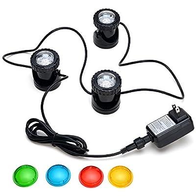 AGPtek® Pond Lights For Underwater Fountain/ Fish Pond/ Water Garden (3 Led Kits)