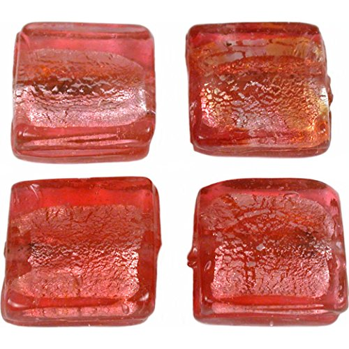 Glass Beads Square Silver Foil - 2