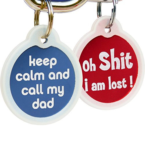 GoTags Funny Dog and Cat Tags Personalized with 4 Lines of Custom Engraved Text, Dog and Cat Collar ID Tags Come with Glow in The Dark Silencer to Protect Tag and Engraving, (Keep Calm Call My Dad)