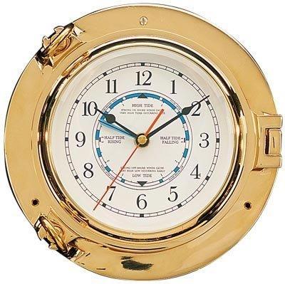 HS Brass Porthole Tide & Time Clock by HS