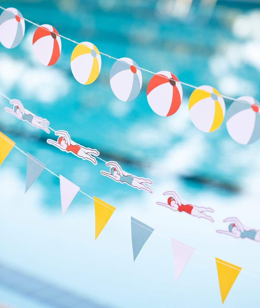 Pool Party Decorations Beach Party Banners for Kids Pool Party, Swimming Party, Pool Birthday Party, 3 Tiers Each 6 Feet Long