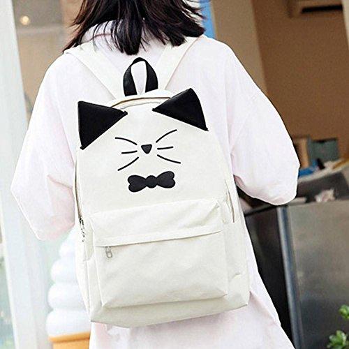 mujeres gato del impresa mochilas PU la de encantador Beige Bolso de rosa la hombro casual las historieta cuero de Widewing de ndUWwYpqgp