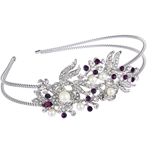 EVER FAITH Austrian Crystal Cream Simulated Pearl Flower Leaf Hair Head Band Purple ()