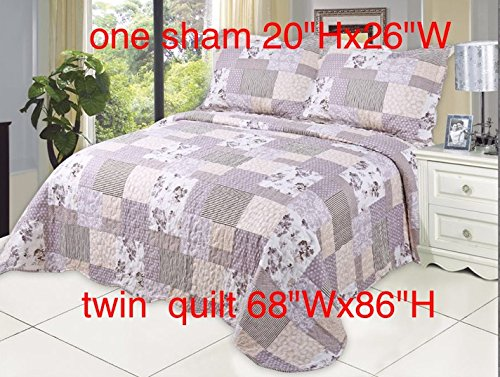 Microfiber Quilt set,prewashed, preshrunk. Hypoallerginic, Print pattern Stitched with Threads, twin bed-cover with 1 sham , AS coverlet bedcover - Stitch Coverlet Set