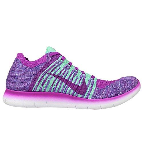Nike Free Rn Flyknit Mtlc (gs) Vivid Viola / Nero-iper Turchese-bagliore Fucsia