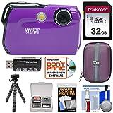 Vivitar ViviCam 8119 Digital Camera (Purple) with 32GB Card + Case + Flex Tripod + Reader + Kit