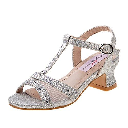 Nanette Lepore Girls Rhinestone Glitter Dress Sandals, Silver, 3 M US Big Kid' (Dress Strappy Sandal Silver)