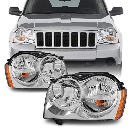 For Jeep Grand Cherokee Replacement Headlights Driver/Passenger Chrome Head Lamps Pair New - Jeep Grand Cherokee Headlight Replacement