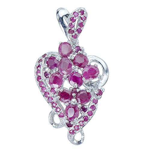 Beautiful Natural Rare African Ruby Gems 925 Sterling Silver Necklace Pendant ()