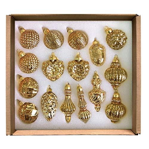 GLASSBALL Gold Classic Christmas Mercury Glass Ornament (16 Ornaments) (Ornament Mercury)