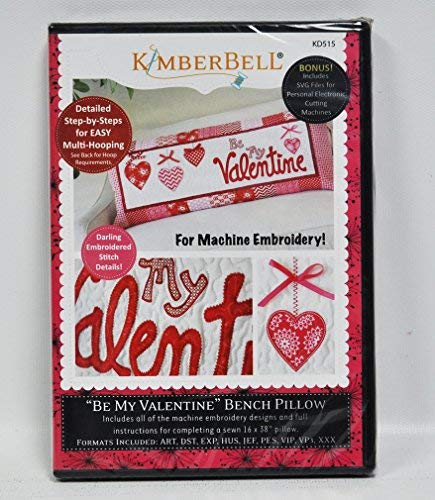 Kimberbell Be My Valentine Bench Pillow Machine Embroidery CD KD515