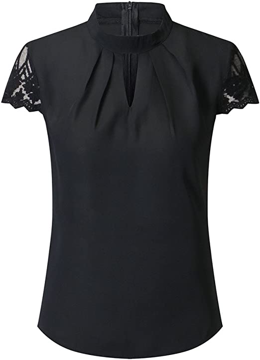 T-Shirt Women Casual Chiffon Short Sleeve Splice Lace Crop Top Office Shirts