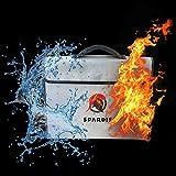"Spardis Spartan Shield XXL Fireproof Money Bag (16""x12""x3.5"") Dual Layer Fire Resistant Lipo Bag w/ Handle, Shoulder Strap, Heat-Proof Aluminum, No-Itch Silicone Coated Fiberglass & Heavy-duty Zipper"