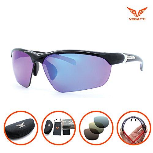 Affordable Revo Sunglasses (Vogatti Polarized Designer Fashion Sports Sunglasses for Fishing Baseball Golf Running Cycling Ultra Light Glasses (C2 Shiny Black, Grey PC Polarized with Blue Revo))