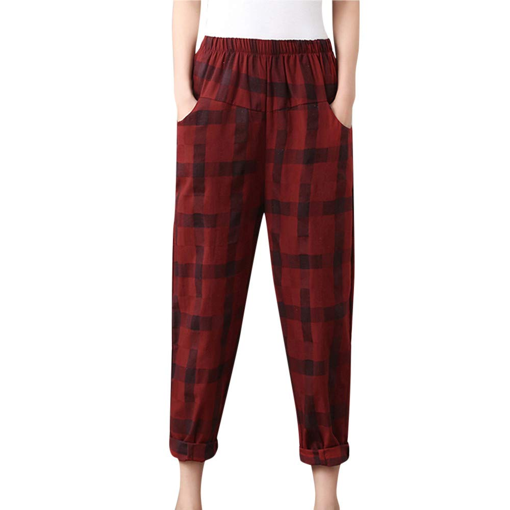 Sunmoot Newest Bohemian Plaid Chino Pants for Womens Casual Loose Elastic Waist Harem Trousers Red