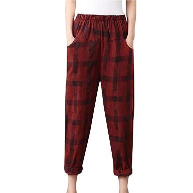günstige Preise Super Qualität kinder ZIYOU Klassisch Kariert Hosen Damen, Frauen Mode Beiläufige Harem Hosen mit  Elastische Taille Streetwear Pants