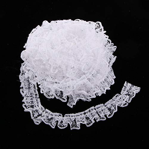 1 Roll Vintage Fringe Lace Edge Trim Wedding Ribbon DIY Sewing Craft | Color - White