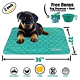 "Ruff 'n Ruffus Reusable and Washable Puppy Pee Pads for Dogs (Set of 2) | Free Travel Bowl, Poop Bags and Dispenser | Extra Large 32"" x 36"" Underpads for Potty Training, Incontinence, Whelping & More"