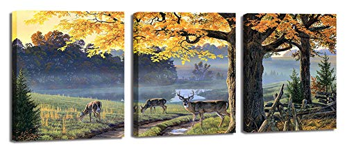 Wildlife Canvas Print Wall Art Artwork Nature Deer Landscape Hunting Picture Decor for Living Room Bedroom Bathroom Home Decoration 3 Panel with Frame