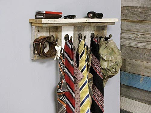 ABW Decor Gift for Dad, Mens Necktie Organizer Rack, Wall Mounted Tie and Belt Storage, Rustic Wooden Hanger Hooks with Shelf for Closet, Great for Birthdays. AllBarnWood Farmhouse Decor