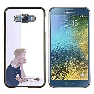 LECELL--Funda protectora / Cubierta / Piel For Samsung Galaxy E7 E700 -- Boy pensativo Pintura Tinta Love Letter Arte --