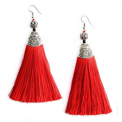 Me&Hz Womens Statement Big Drop Earrings with Red Tassel Long Fringe Beaded Dangle Earring Vintage Jewelry