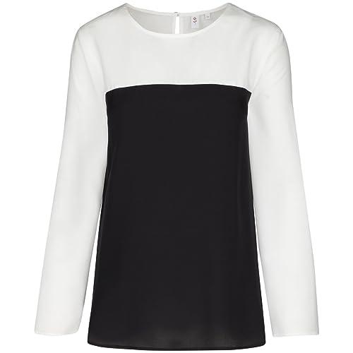 Seidensticker Damen Shirtbluse Comfort Fit Langarm ohne Kragen Bügelleicht