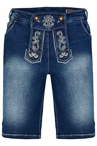 Herren Trachtenjeans Johann (Gr. 44-56) kurze Jeans mit Lederhosenoptik in Blau und Grau Blau
