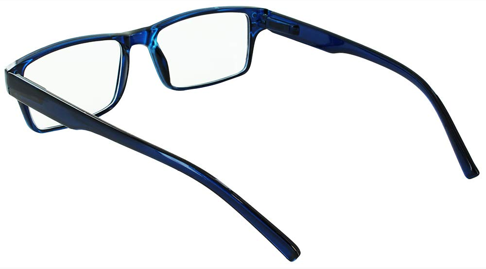 Best Readers Unisex-Adult Rectangle A000200-40002 Rectangular Reading Glasses, Blue, 2, 4-Pack