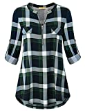 Baikea Plaid Shirt for Women, Female Business Casual Clothes Zip up Notch Neck Rolled Sleeve Checkered Print Blouse Loose Fitting Comfortable Soft Sleezy Strethy Autumn Plus Size Clothing Green XL