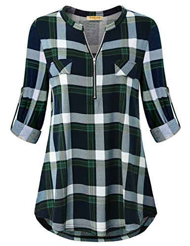 Baikea Tunic Top for Women, Misses V Neck Top Cuffed Sleeve Turn Down Collar Trendy Plaid Shirt Tartan Fit Loosely Back Designer Surrounding Shirttail Hem Green XXL (Designer Retro Clothing)