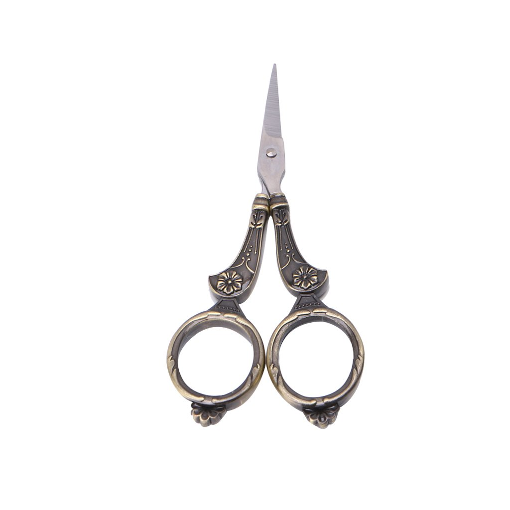 Hacloser Antique Vintage Embroidery Scissor, Sewing Scissors Set for Fabric Cutting Cross Stitch Sewing Tool (Silver)