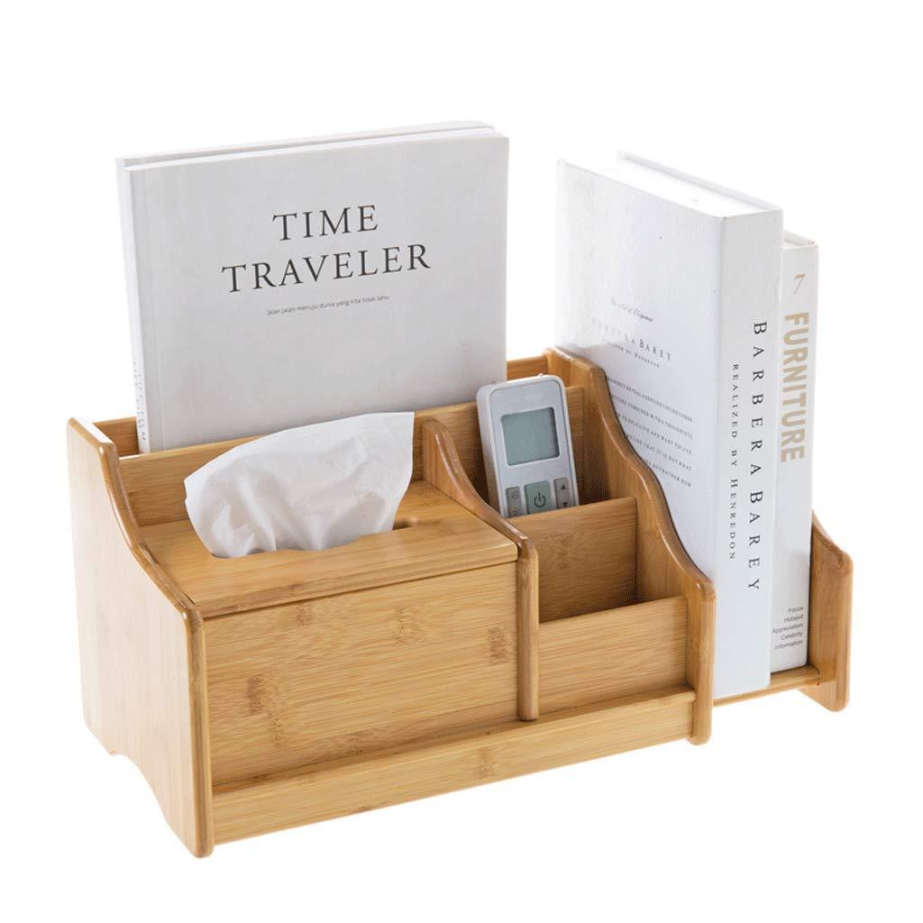 ZYN Bamboo Desktop Tissue Box - Storage Box Office Bookshelf Desk Stationery Storage Rack Book Shelf