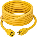 100 Foot Heavy Duty Generator Locking Power Cord NEMA L14-30P/L14-30R,4 Prong 10 Gauge SJTW Cable, 125/250V 30Amp 7500 Watts Yellow Generator Lock Extension Cord with UL Listed Magellan