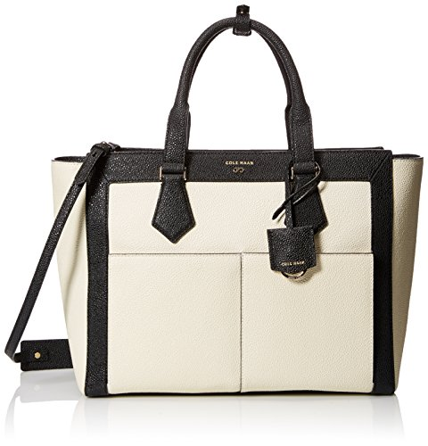 Cole Haan Eva E/W Tote Tote Bag, Ivory/Black, One Size
