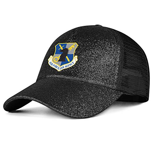 - Air Force Intelligence Surveillance and Reconnaissance Agency Lady's Straight Hair Vintage Outside Mesh Strapback Messy High Bun Ponytail Caps