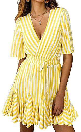- ECHOINE Womens Casual Summer Stripe Dress - Deep V Neck Wrap Mini Party Beach Sundress Yellow