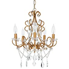 'Madeleine Collection' Crystal Swag Chandelier, 5 lights, Authentic Glass Pendant Lighting, Vintage Antique