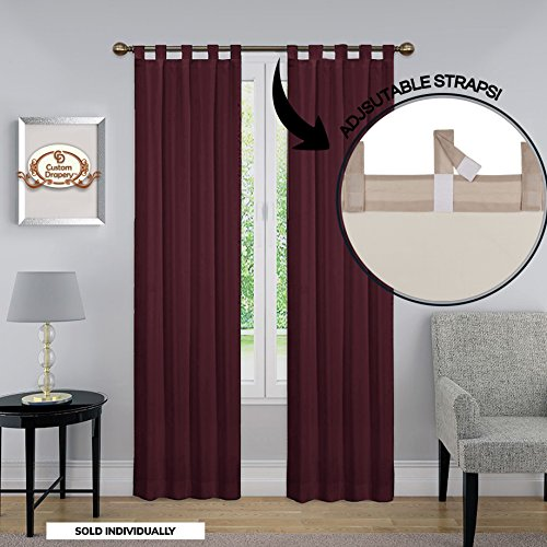 Blackout Room Darkening Drapery Curtain - ADJUSTABLE LENGTHS, Molly Collection Drapery Tab Top Curtain Panel, One Panel 52 x 84 color (Tab Drapery)