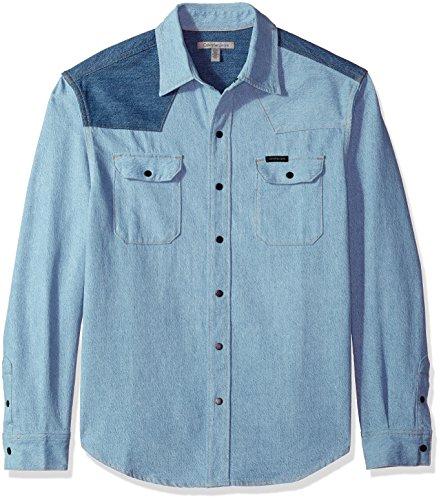 2 Tone Western Shirt (Calvin Klein Jeans Men's Western Denim Shirt Two-Tone, Disorder Blue, M)