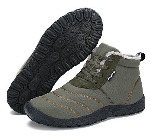 Boots Pelliccia Scarpe Invernali Donna Stringate Caldo Neve KOUDYEN Stivali Uomo Grigio Stivaletti Caviglia 0wqxzPg