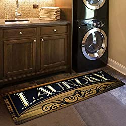 USTIDE Wood Print Floor Rug for Laundry Room Washhouse Mat Waterproof Kitchen Rugs Non Skid Rubber Area Rug 2x4