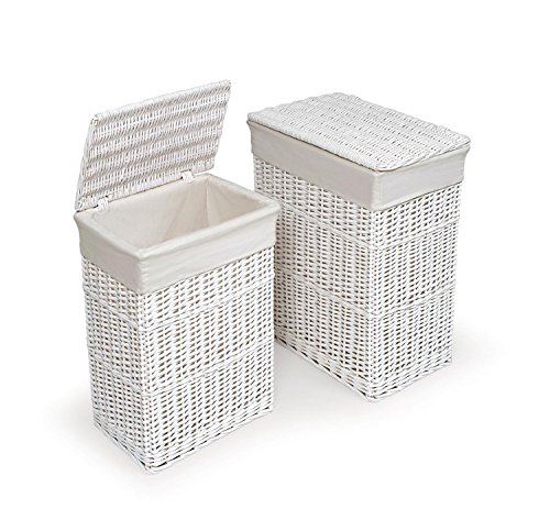 Basket Two Hamper Set with Liners, White