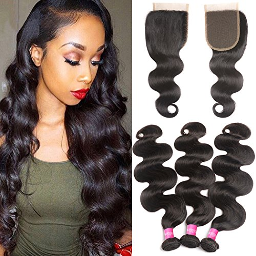 - Brazilian Body Wave 3 Bundles with Free Part Lace Closure 10A Unprocessed Virgin Human Hair Weave Weft Extensions with Top Closure and Bundles Natural Color (24 26 28+20 closure, Free Part)