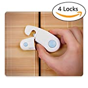 Cabinet Locks - Pack of 4 Child Safety Locks - Child Baby Proof Safety Lock Lacthes- Kitchen Child Cabinet Lock - Baby Proofing Kit - Baby Safety Locks with 3M Adhesive Tape