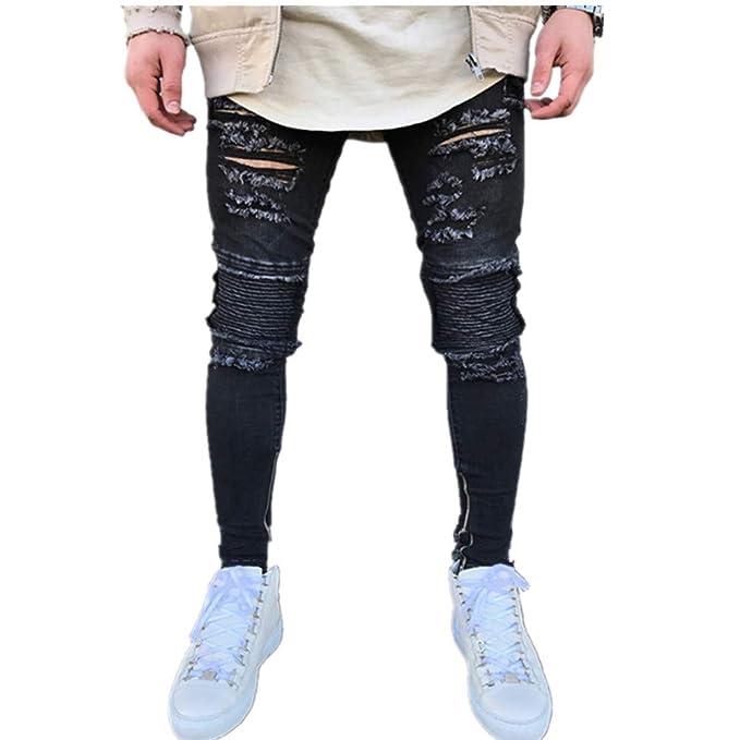 de98d3dbd96db3 SOMESUN Uomo Elastico Strappato Magro Biker Jeans Pantaloni Denim Slim Fit  con Zip Distrutti da Uomo