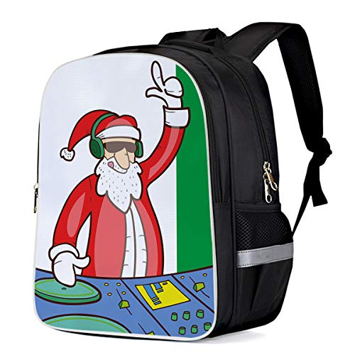 Fashion Elementary Student School Bags- DJing Santa Claus - Durable School Backpacks Outdoor Daypack Travel Packback for Kids Boys Girls (Best Computer For Djing)